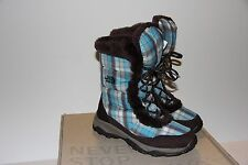 The North Face Nuptse Faux Fur Blue Bliss Boots Girls Size 5 Excellent Condition