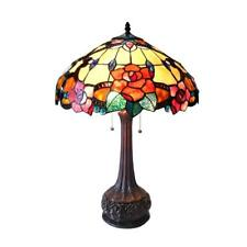 "Stained Glass Chloe Lighting Floral 2 Light Table Lamp 18"" Shade Handcrafted New"