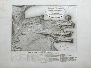 """""""PLAN DE LA VILLE DE SYDNEY"""", Lesueur First Edition Plan of Sydney, 1811."""