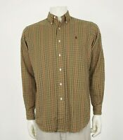 Polo Ralph Lauren Classic Fit Brown Plaid Button Shirt Mens Medium