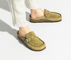 New Women's Birkenstock Buckley Shearling Suede Clog Shoes Size 38 Green olive 8