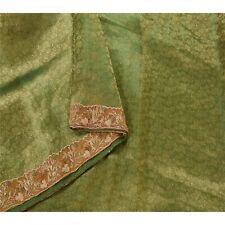 Sanskriti Vintage Green Saree Tissue Hand Embroidered Woven Fabric Premium Sari
