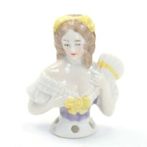 Antique porcelain pin cushion half doll lady holding fan 24817 #23 sewing