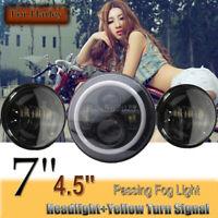 Schwarz 7'' 60W LED SCHEINWERFER + 2x 4,5'' ZUSATZSCHEINWERFER für Harley