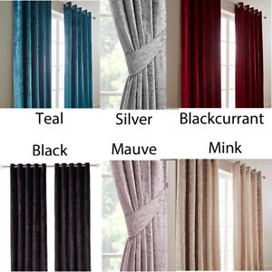 READY MADE CRUSHED VELVET LINED RINGTOP CURTAINS - PLAIN COLOURS PASTEL CHEAP