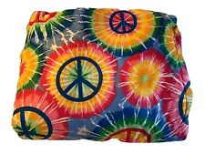 "Comforter Girls Tie Dye Hippie Peace Sign Full Size 85"" X 88"" Hot Pink Blue NWOT"