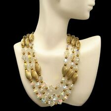 Vintage 3 Multi Strand Necklace AB Crystal Chunky Fluted Gold Plated Beads SLIM