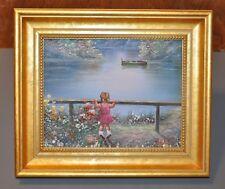 Impressionist Oil Painting Artist P. Minton Little Girl Lake Flowers Boat