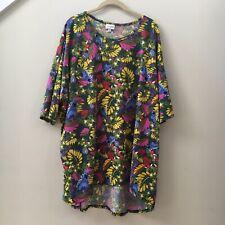 LuLaRoe Vintage Irma Top Women's Green Floral Bird Print Shirt EUC Size 3XL