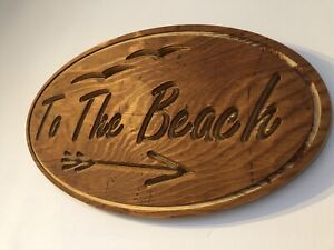 """Large Wooden Rustic """"To The Beach"""" Sign, home bar, man cave, Shed, Home, Garden"""