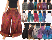 Womens Palazzo Pants Wide Leg Trousers Boho Bohemian Hippie Gypsy Yoga Pants