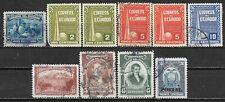 1937-1952 ECUADOR 10 USED/UNUSED STAMPS (Scott # 363,388-390,407,475,481,561)