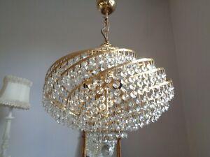 ~ stunning vintage lead crystal spiral chandelier ~
