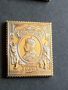 INDIA-GEORGE 5th-25 Rs VALUE-925 STERLING SILVER+GOLD PLATED STAMP INGOT-22g
