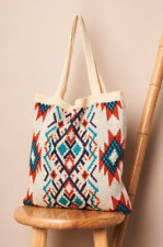 New Southwestern Tribal Print Knit Boho Tote Sweater Shoulder Bag Ivory Cream