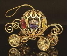 24K GOLD PLATED PUMPKIN COACH FIGURINE W/ MULTICOLOR SWAROVSKI CRYSTAL ELEMENTS