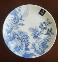 NEW (4) ROYAL WESSEX WHITE BLUE FLORAL FLOWERS DINNER PLATES SPRING HOME DECOR