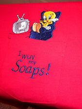 "TWEETY BIRD soap-opera Looney Tunes pocket T shirt large ""Love My Soaps"" TV"