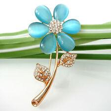 Navachi Sunflower Leaves Flower 18K GP Blue Opal Crystal Pin Brooch BH7032B