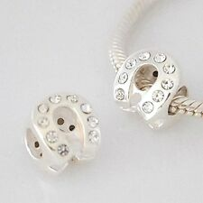 HORSESHOE with CZ- Luck-Horse Shoe-Solid 925 sterling silver European charm bead
