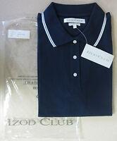 IZOD Club NEW Ladies cotton Pique Polo Sm Golf Shirt Navy Tennis Golfing Small