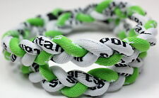 "NEW 20"" 3 Rope Neon Lime Green White Titanium Sport Necklace Tornado Baseball"