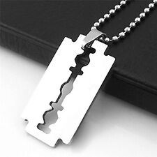 1 x Razor Blade Necklace Silver Stainless Steel Pendant Dog Tag Chain Best HGUK