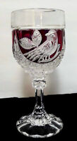 Ruby Red Stained Cut Crystal Goblet