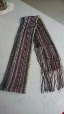 Monsson multi coloured striped sparkly scarf with tassels