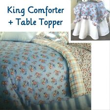 Waverly HILLSIDE Blue Red Floral Plaid ~ King Comforter + Ruffled Table Topper