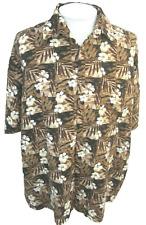 PURITAN Men Hawaiian ALOHA shirt pit to pit 29 2XL floral camp luau brown rayon
