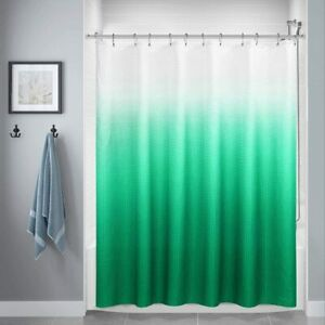 Green White Textured Ombre Gradient Boho Fabric Shower Curtain with Hooks