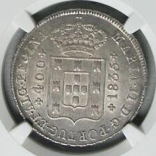 Ek // 400 Reis Cruzado Silver Portugal Monarchy 1835 Maria II : NGC MS63