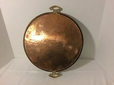 Antique Turkish Copper Pan Roasting Gratin Decor Brass Handles Three Sizes