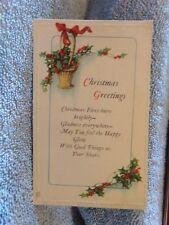 Vintage Postcard Christmas Greetings Poem, Basket And Holly