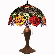 "Bieye Tiffany Style Stained Glass Rose Table Lamp with 16"" Handmade Shade 2Light"