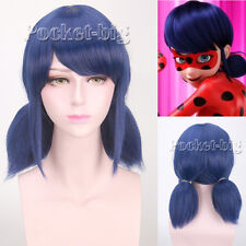 Miraculous Ladybug Royal Blue Color Two Ponytails Anime Cosplay Wigs Braid