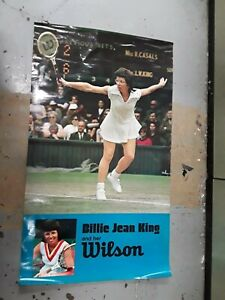 BILLIE JEAN KING and her WILSON - TENNIS POSTER VINTAGE - 23 X 40""