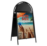 Linno® A2 BLACK WATERBASE PAVEMENT POSTER SIGN ABOARD SNAP FRAME DISPLAY STAND