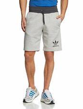 Mens New Adidas Originals 3 Stripe Cotton Shorts Pants Casual Summer - Navy Grey