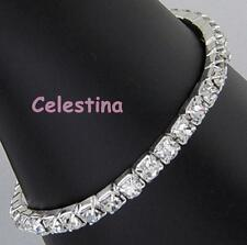 Single Row Stretch Bride Bridesmaid Prom Bracelet Crystal Diamante Rhinestones