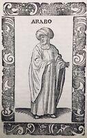 Arabie 1598 Marchand Arabe rarissime Gravure sur Bois publiée Venise Vecellio