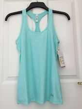 Under Armour Womens Heat Gear Vest Tank Veneer Blue XS Extra Small Gym Fitted 4