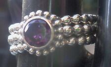 New Unique Sterling silver stamp 925 3 piece bubble ring Purple stone size 7- 55