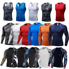 Mens Compression Fitness Vest Base Layer T-Shirt Gym Sports Muscle Slim Tops HOT