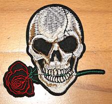 Totenkopf Rose Aufnäher / skull rose patch Punkrock Aufbügler Metal biker Goth