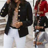 Women's Slim Breasted Blazer Suit Jacket Ladies Casual Long Sleeve Outwear Coat