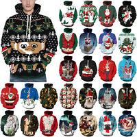 Unisex Christmas 3D Santa Claus Printed Hoodie Sweatshirt Jumper Pullover Tops