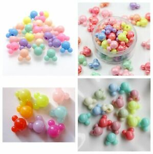 Mixed AB Pastel Jelly Color Mickey Mouse Acrylic Pony Style Beads 10 -15mm