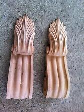 x2 Medium Decorative Carved Corbel Wood Raw - ES -  H25.2cm x W7.3cm x D6cm